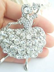 Women Accessories Silver-tone Clear Rhinestone Crystal Brooch Art Deco Crystal Dancing Girl Brooch Women Jewelry