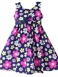 Girls Fashion  Flower Print Party Casual  Child Clothing  Dresses (100% Cotton)