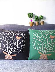 The Deer And Bird Linen Pillow Cushion Cover SynthesisDesign Office Sofa Cushion Covers