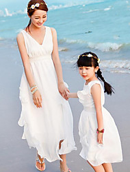 Summer Micro-elastic Thin Sleeveless Dresses Family Clothing Sets (Chiffon)