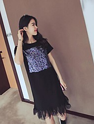 Women's Solid/Patchwork White/Black Dress , Casual Round Neck Short Sleeve Sequins/Mesh