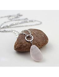 QUARTZ Natural Texture White Gold Llong Necklaces 1pc