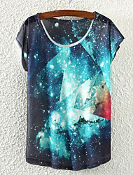 Women's Casual/Daily Simple Summer T-shirt,Print Round Neck Short Sleeve Multi-color Cotton / Polyester Medium