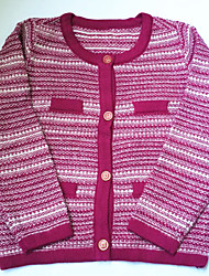 Girl's striped sweater and round collar pink Single-breasted wear