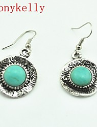 Women's Alloy Drop Earrings With Turquoise