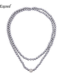 D Exceed New Grey Faux Pearl Beaded Necklaces & Pendants Long Sweater Chain for Women Pearl Neckalces