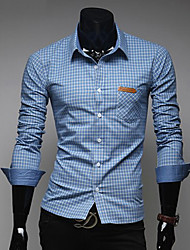 Men's Casual/Daily Work Formal Shirt,Plaid Long Sleeve Polyester