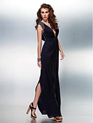 Formal Evening Dress - Dark Navy Plus Sizes / Petite Sheath/Column V-neck Floor-length Satin Chiffon