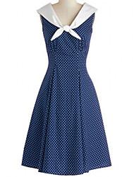 Women's Retro Navy Collar Sleeveless Knee Length Dress