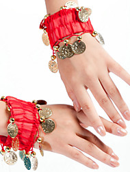 Belly Dance Performance Jewelry Children's Performance Polyester Coins Bracelet Red/Yellow