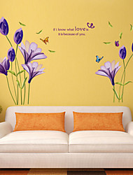 Wall Stickers Wall Decals Style Beautiful Purple Lily PVC Wall Stickers