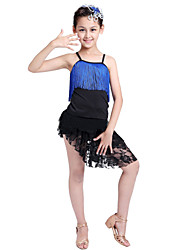 Latin Dance Performance Outfits Children's Performance/Training Polyester Outfit Blue/Fuchsia/Red Kids Dance Costumes