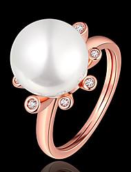 Maxi anel Pérola Zircão Zircônia Cubica 18K ouro Moda Branco Ouro Rose Jóias Casamento Festa 1peça