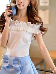 Pink Doll Women's Off The Shoulder/Bow Bateau Casual/Cute Regular T-shirt