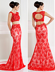 Formal Evening Dress - High Low / Two Pieces Trumpet / Mermaid Scoop Sweep / Brush Train Lace with Appliques / Beading / Lace