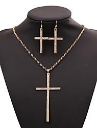 Women's Necklace Suit Fashion Vintage Cross Pendant Necklace+Rings