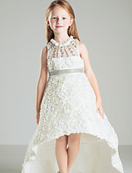 Ball Gown Court Train Flower Girl Dress - Satin Jewel with Beading Bow(s) Sash / Ribbon Pleats