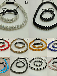 Gift Shamballa Bracelet & Necklace for Clay Crystal Beads Handmade