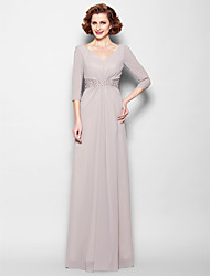 Sheath / Column Plus Size / Petite Mother of the Bride Dress Floor-length 3/4 Length Sleeve Georgette with Appliques