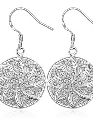 lureme® Fashion Style Silver Plated Round Leaf Shaped with Zircon Dangle  Earrings