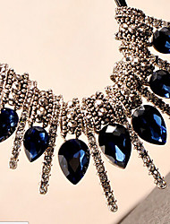 New Arrival Fashional Retro Popular Rhinestone Created Gem Crystal Water Drop Necklace