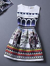 Women's Round Neck Mini Dress , Polyester White Casual