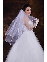 Wedding Veil Two-tier Fingertip Veils Ribbon Edge