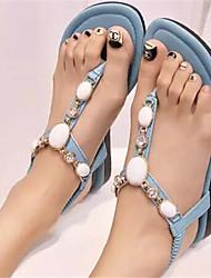 Sandálias ( Azul/Roxo/Bege ) - MULHERES Rasteirinhas - Rasteiro - Courino