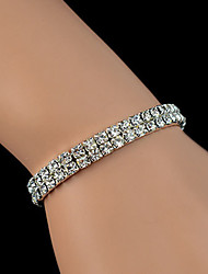 Eternal Fashion Elastic Crystal Stretch Silver Bracelet(Two Layer)(1 pc)