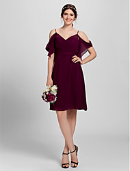 Lanting Bride® Knee-length Chiffon Bridesmaid Dress A-line Spaghetti Straps Plus Size / Petite with Criss Cross