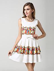 Women's Wear Sleeveless Knitting Fashion Digital Print Dress
