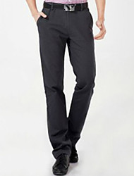 U-Shark Men's  Business Casual&Fashion Cotton  Straight Pants with  Small Check Dark Grey Solid Color