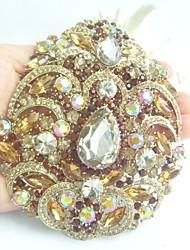 Women Accessories Gold-tone Topaz Rhinestone Crystal Flower Brooch Art Deco Crystal Brooch Bouquet Women Jewelry