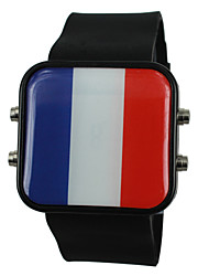 Unisex French USA Flag Style Silicone Band Wrist Watch