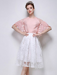 TS Women's Vintage Inelastic Round Collar Solid Color Splicing Lace Simplicity Short Sleeve Blouse (Chiffon)