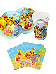 56pcs Winnie the Pooh Baby Birthday Party Decorations Kids Evnent Party Supplies Party Decoration 18 People Use