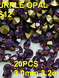 SS12 20pcs/lot 3.0mm-3.2mm Purple Color Opal Rhinestone with Golden Point Back Nail 3D Rhinestones Decoration