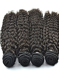 4Pcs/Lot Brazilian Virgin Hair Jerry Curl Natural Black Color #1B Human Hair Bundles