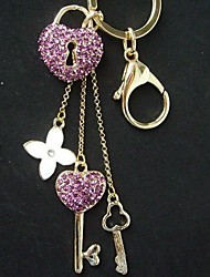 Pretty Flower Heart Key Chain With Purple Rhinestone Crystals