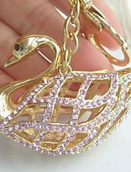 Pretty Swan Key Chain Pendant With Clear & Pink Rhinestone Crystals