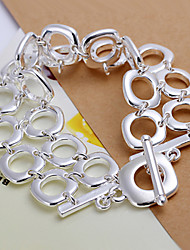 Simple generous Women's Double Row Full Square Silver Plated Brass  ID Bracelets(Silver)(1Pc)