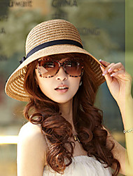 Women Vintage/Casual Summer Cotton Blends/Straw Floppy Bucket Sun Hat