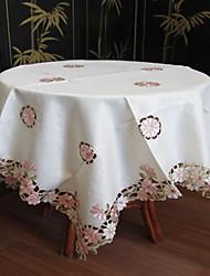 klassieke witte geborduurde tafelkleden vierkant (maat: 150cmx150cm)