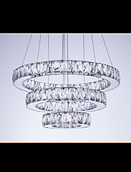 LED Chandelier Lights Modern Lighting Cool White Three Rings D405060 ClearK9 Large Crystal Hotel Ceiling Lights