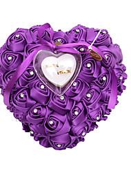 Heart Shape Bears Lover Pearl Ring Box Pillow for Wedding