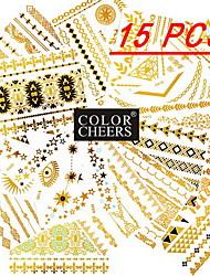 15Pcs All Different Patterns Long Bracelets/Necklace Tattoo Sticker(Random Patterns)15x11.5CM