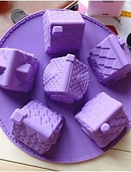 moda novo estilo 6pcs forma da casa silicone fabricação do cozimento do bolo molde (cor aleatória)