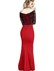Women's Lace Long Maxi Prom Formal Cocktail Evening Dress