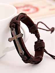 Women's Casual Leather Bracelet Braided Bracelet Fashion Cross Bracelet (12Pices/Set)