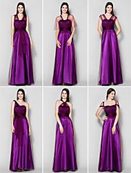 Vestido de Dama de Honor - Uva Corte A Hasta el Suelo Tul